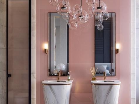 """Дизайн интерьера в Калининграде """"Розовые стильные ванные комнаты"""""""